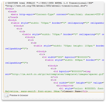 html email code view screenshot