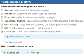 target subscribers by action